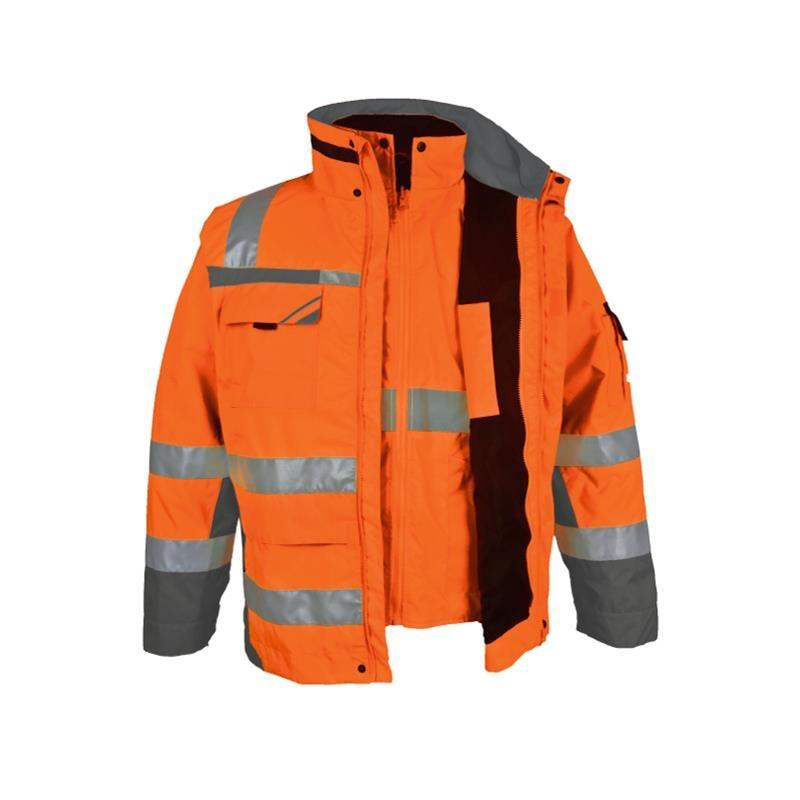 Warnschutz Winterparka 3 In 1 Pka Orange Grau