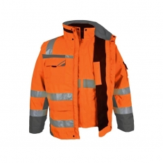 Warnschutz-Winterparka 3-in-1  pka, orange/grau